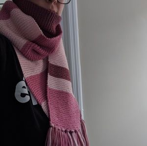 Hand-made pink colorblock long scarf